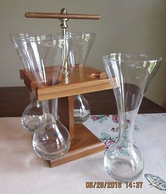 Vintage Wood CADDY Hand Blown LOT 4 glasses decanters 1/4 YARD ALE  Beaker  Beer