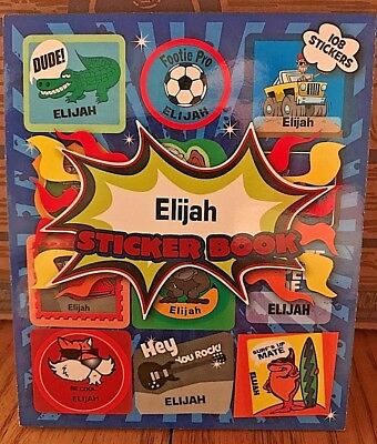 ELIJAH Personalized name STICKER BOOK NEW Stick 'n Mix boys blue stickers