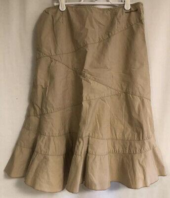 DKNY JEANS COTTON lightweight Skirt 4 Tan Beige Straight Flared Pencil Womens