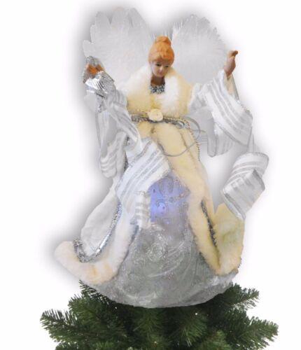 """Avon Angel Christmas White Tree Topper Fiber Optic LED Lights 13"""" Xmas Trees"""