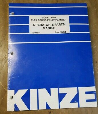 Kinze 3200 Flex Econo-fold Planter Operator Parts Manual M0165 1j-2482-y15
