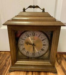 BULOVA Barnett Bank Presentation Mantle Tabletop Clock Wood 16 Wood