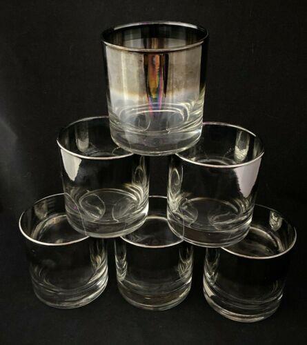 Vintage Dorothy Thorpe SILVER FADE Rocks Drink Glasses Mid Century Modern #6