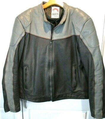 - ~ Spartan ~ Genuine Leather Motorcycle Jacket Coat BLACK & GRAY Size Mens 50