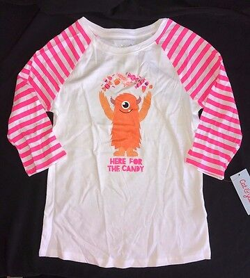 NEW HALLOWEEN SHIRT TOP 10/12 lge CAT & JACK bright pink white MONSTER CANDY NWT