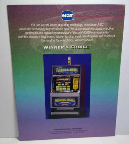 IGT Slot Machine FLYER Winners Choice Select A Game Video Casino Foldout Artwork