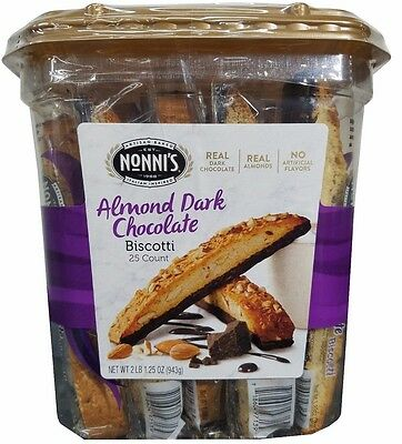 Almond Fat Free Biscotti - Nonni's Almond Dark Chocolate Biscotti 25 Count Large Jar 2lb 1.25oz