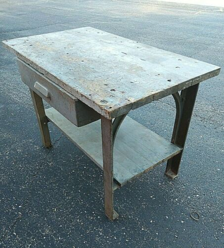 "Antique Gothic Arch Cast Iron Bench Table Industrial 48""  Work Detroit Kitchen"