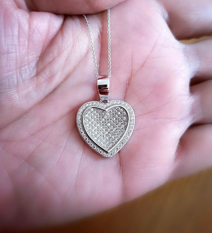 1 Ct Diamond pendant with Chain Woman's Heart Diamond Necklace 14K White Gold 1