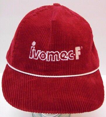 Vintage 1980s IVOMEC CATTLE COW FARM CORDUROY SNAPBACK ADVERTISING HAT CAP USA