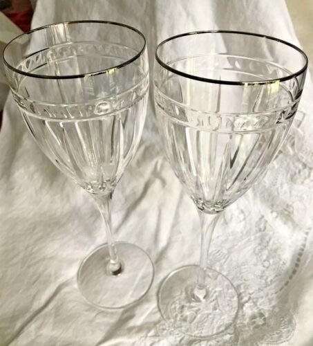 """SIX LENOX VINTAGE JEWEL PLATINUM SIGNATURE WINE GLASSES - 8 3/4"""" x 3"""""""