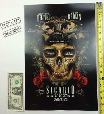 Sicario Day of the Soldado 11.5 x 17 Poster Benicio Del Toro Josh Brolin 2018