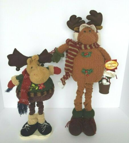 LOT SET 2 PRE-OWNED LARGE MOOSE CHRISTMAS WINTER DECORATION MOOSE FIGURINES