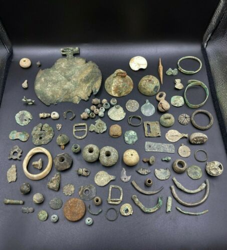 Lot Antique Bronze ,Stone ,Shell Beads ,Bell Pendant From Ancient Steppe Culture