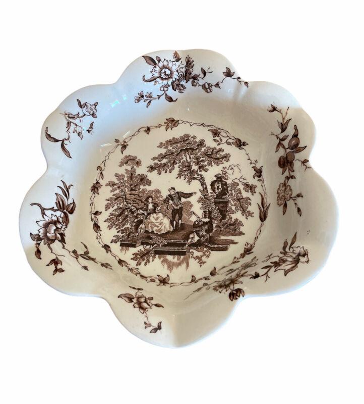 "Vintage Brown Masons Watteau Transferware Small Scalloped Serving Bowl 8 3/4"""