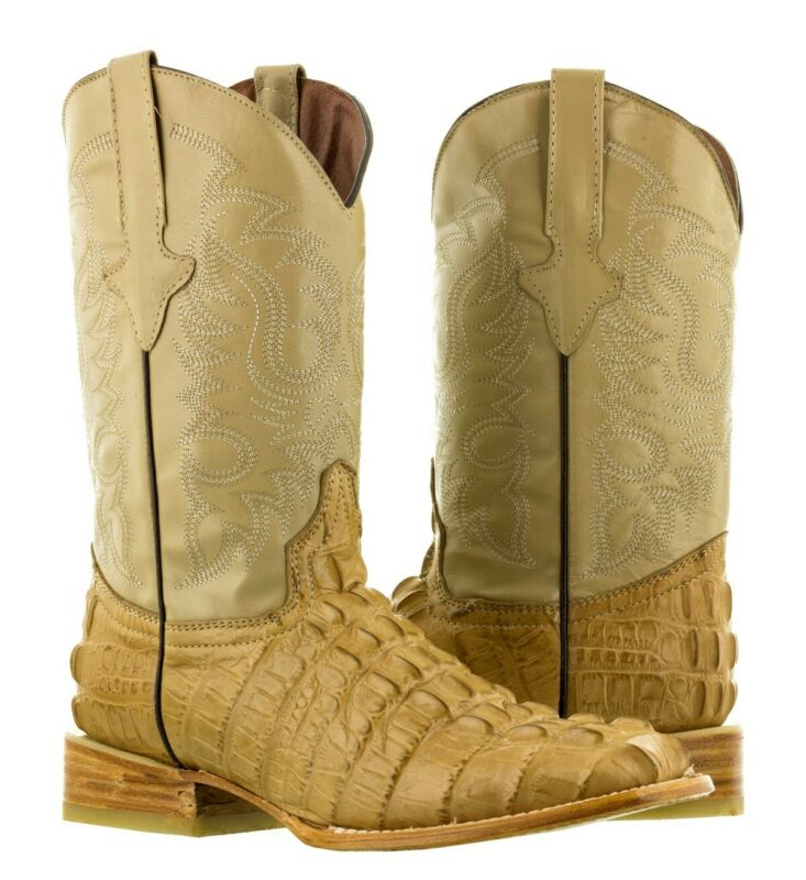 Mens, Beige, Crocodile, Alligator, Tail, Print, Leather, Western, Cowboy, Boots, Square