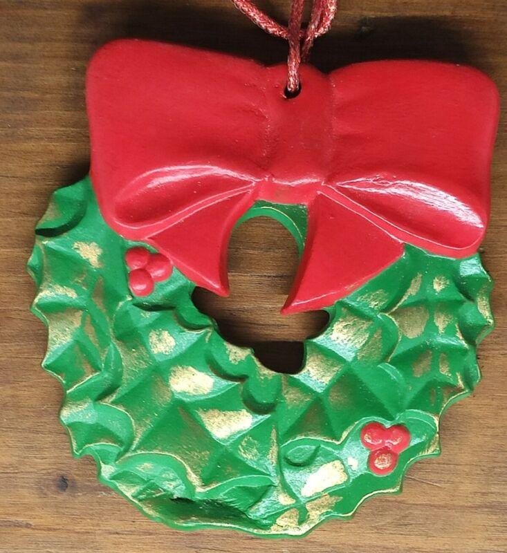 "Vintage Duncan Enterprises 1976 Christmas Wreath Ornament 3.5"" Tall"