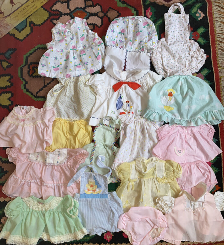 Vintage Baby Girl Sunsuit Romper Shorts Bloomers Blouse Lot 0-18 Mos 18 Pieces