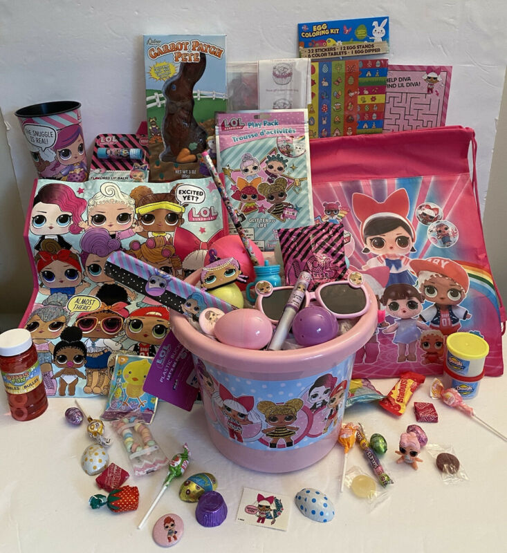 50 PC LOL L.O.L. Surprise Doll Easter Basket Ball Backpack Tote Glasses Cup +