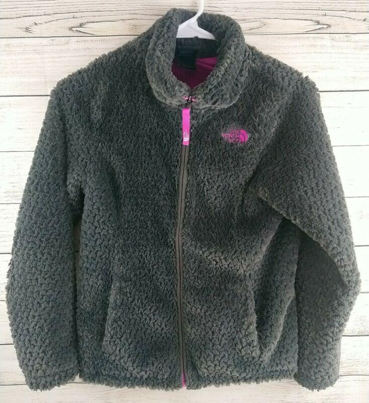 North Face Teddy Fur Jacket Gray Girls Size  Medium 10/12