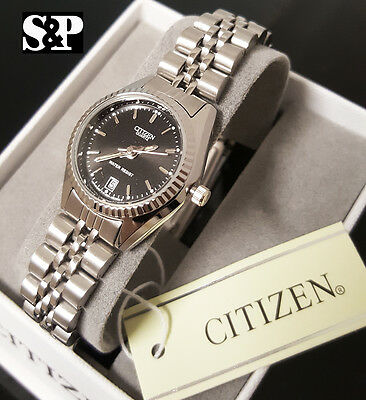 Women Citizen Elegant Luxury Stainless Steel Metal Band Date Dress Wrist Watch