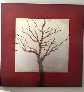 Large Red & Silver Tree Stencil Painting