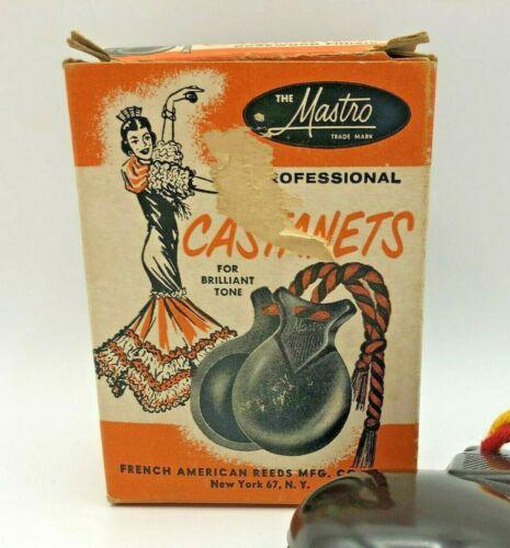 Vintage Mastro CS 200 Plastic Castanets Simulated Rosewood CS200