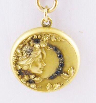 ANTIQUE ART NOUVEAU GOLD SAPPHIRES DIAMONDS  BEAUTIFUL WOMAN LOCKET on CHAIN