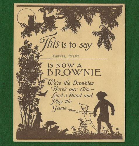 VINTAGE  GIRL SCOUT - 1935 BROWNIE MEMBERSHIP CARD