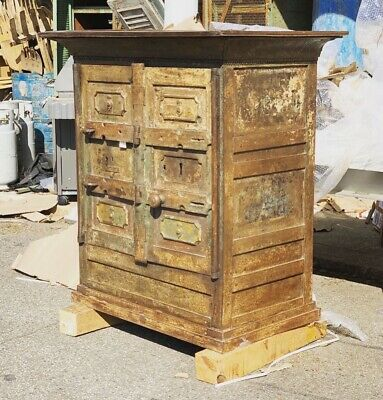 Vintage Industrial Safe Primitive Metal Safe Cabinet