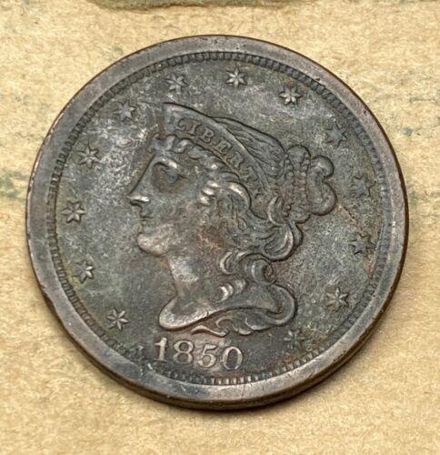 1850 Braided Hair Half Cent - $162.51