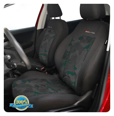 2 x car seat covers fit Audi Q3 - front seats charcoal/green