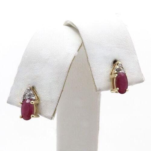 14k Gold Genuine Ruby July Birthstone Diamond Crown Drop Post Earrings New