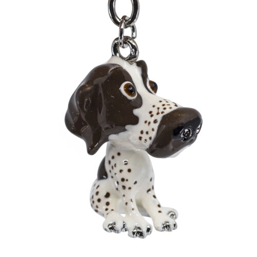 Little Paws Brown & White Pointer Dog Key Ring With Charms and Trolley Coin New!