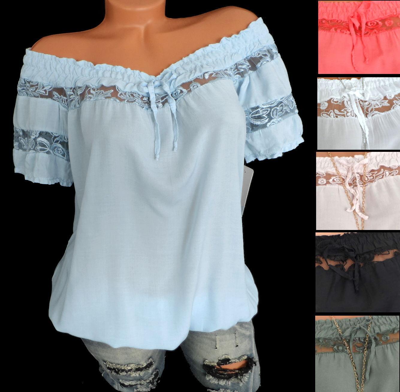 Shirt Carmenshirt Ballon Bluse Carmen Kurzarmshirt Spitze Zierschleife S M 36 38