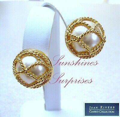 JOAN RIVERS FANCY GOLDEN CAGED PEARLS PIERCED EARRINGS PIERCED SIGNED BEAUTIFUL
