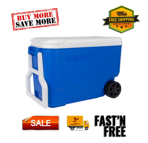 38-Quart Hard Ice Chest Cooler w/ Wheels-Blue, Indoor+Outdoor, Easy-to-clean