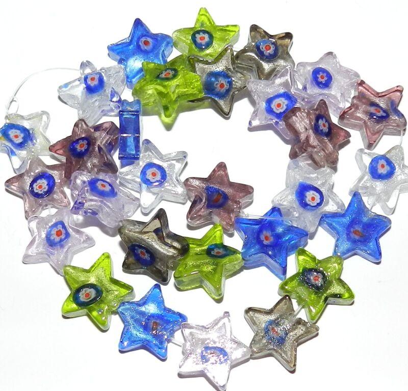 G3042 Mixed Red White Blue Flower Silver-Foil 18mm Star Millefiori Glass Bead