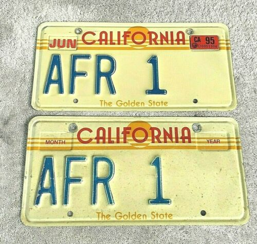 "Vtg California ""The Golden State"" 1982-1987 VANITY License Plate Set Tag # AFR 1"