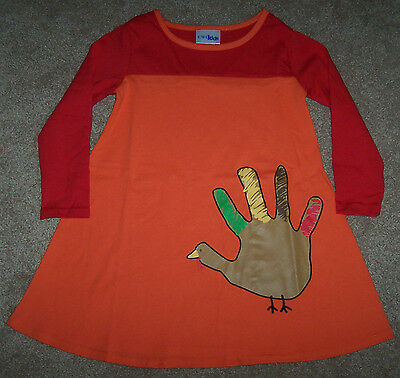 Turkey Handprint (NWT CWD Kids Orange/Red Colorblock Dress HANDPRINT TURKEY 4/4T Girl)