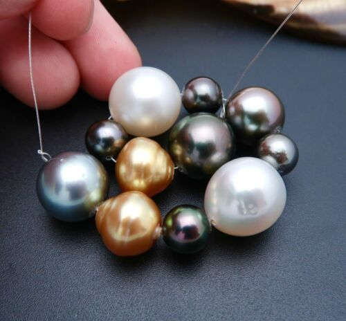"STUNNING AA+ SOUTH SEA & TAHITIAN CULTURED PEARLS 11pc SET 4.5"" 19.04grams"