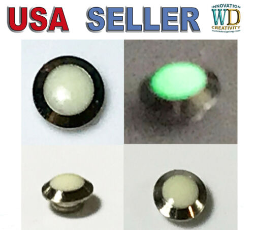PEARL LUMINOUS GREEN PIP FOR BEZEL INSERT Dot Silver watch parts LUME Reapir NEW
