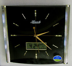 CONTEMPORARY BLACK  WALL CLOCK WITH DATE AND TEMP AND QUIET SWEEP HM994