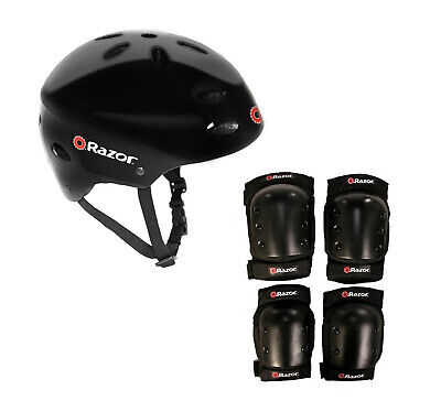 Razor V17 Youth Skateboard / Scooter Sport Helmet w/ Pro Knee & Elbow Pads Set