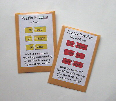 2 Teacher Made Literacy Centers Games Prefix Puzzles re, un & dis, mis, - Prefix Game