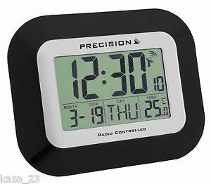 Precision Wall & Desk Clock Radio Controlled Black Date Automatic Temp PREC0097