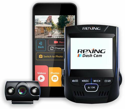 "*OPEN BOX* Rexing V1P 2.4"" Dash Cam LCD FHD 1080p 170 Degree Dual Channel Wi-Fi"