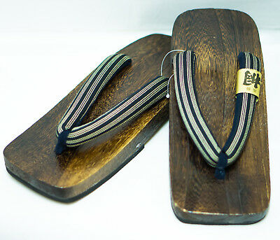 [Japan Made] Mens Geta Paulownia Wood Sandals Traditional 28cm, Stripe 0089