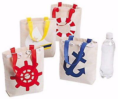 12 NAUTICAL SAILOR ANCHOR tote bags CANVAS NEW Nautical Birthday Luau party Bags - Nautical Birthday Party