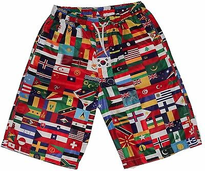 All World Flags (Mens World Flags All Over Print Surf Skate Summer Shorts board 32w 80s 90s)